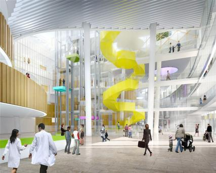 An artist's impression of the atrium in the new National Children's Hospital to be built beside St James's, Ireland's largest and leading adult teaching and research-intensive hospital, in Dublin