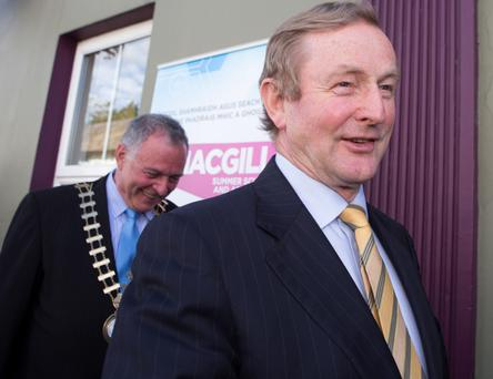 VISITING: Enda Kenny, with Donegal Mayor Terence Slowey, at the MacGill Summer School (North West Newspix)