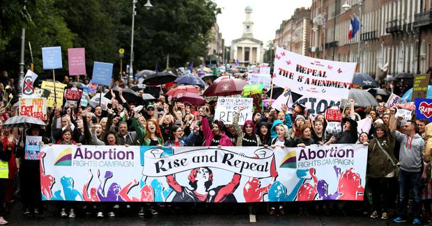 Protest: The Repeal the 8th march on Merrion Square last month. Photo: Gerry Mooney