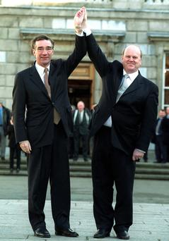 Michael Noonan and his deputy Jim Mitchell after he won the leadership of Fine Gael in 2001. Photo: Tom Burke