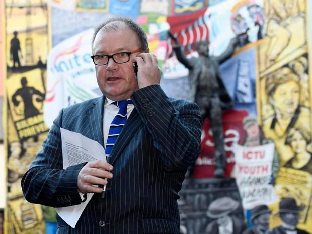 Tom Geraghty, secretary of the Public Services Committee of the Irish Congress of Trade Unions, spoke to the media after an All Public Sector Union meeting at the ICTU building on Donegal Street in Belfast yesterday. Photo: Colm Lenaghan/Pacemaker