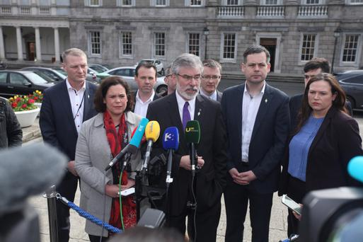 TAKING AIM: Sinn Fein representatives regularly hit out at political rivals, claiming everyone else is out of step bar them