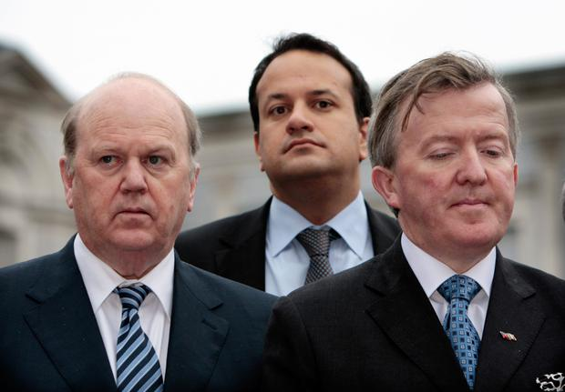 Varadkar with Fine Gael frontbenchers Michael Noonan and John Perry during the 2011 election campaign
