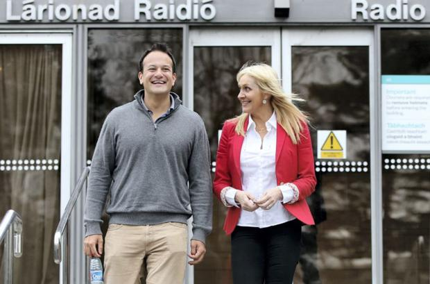 Varadkar leaving RTE studios with Miriam O'Callaghan after he came out on her radio show in January 2015