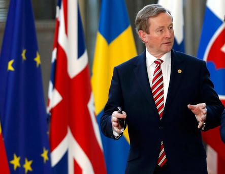 Taoiseach Enda Kenny arrives at the EU summit in Brussels Picture: Reuters