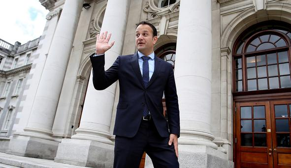 Leo Varadkar at Government Buildings yesterday. Photo: Tom Burke