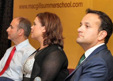 Tough at the top: Micheál Martin, Mary Lou McDonald and Leo Varadkar at the 2014 MacGill Summer School.