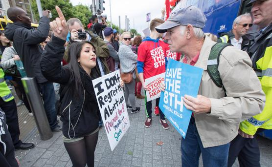 Pro-Choice and Pro-Life campaigners at a rally last year Photo: Fergal Phillips