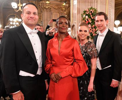 Leo Varadkar, Model Waris Dirie, Susanne Thier and Austrian Chancellor Sebastian Kurz pose prior the opening of the Opera Ball 2018, the sumptuous highlight of the Austrian capital's ball season, on February 8, 2018 at the State Opera House in Vienna. / AFP PHOTO / APA / ROLAND SCHLAGER / Austria OUTROLAND SCHLAGER/AFP/Getty Images