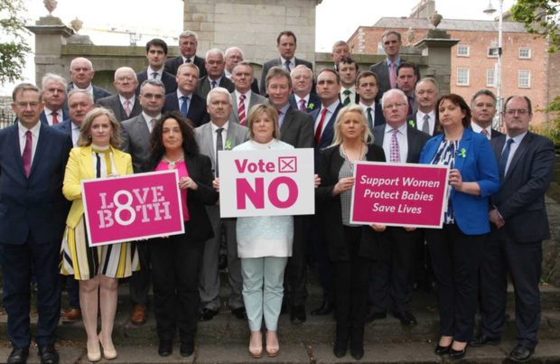 The Fianna Fail TDs who opposed the repealing of the Eighth Amendment gather for a photocall.
