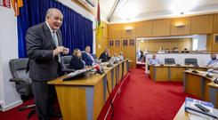 Gavin Duffy making his pitch for a nomination at a special meeting of Carlow County Council yesterday. Picture: Dylan Vaughan
