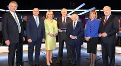 Line up: The Presidential candidates with Pat Kenny (centre) for the TV debate on Wednesday. Photo: Brian McEvoy