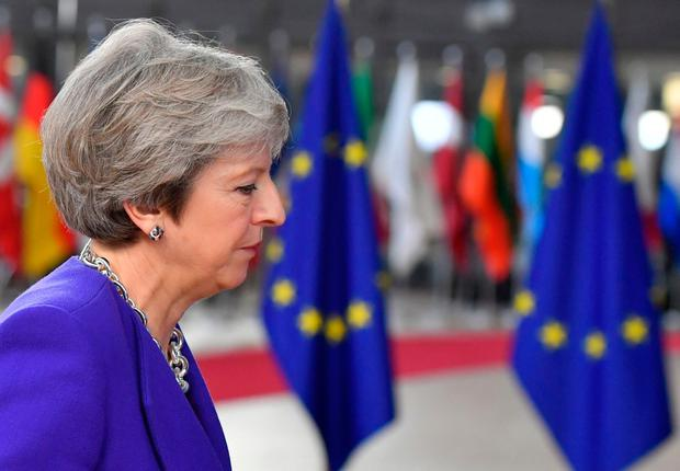Britain's prime minister Theresa May arrives at the European Council in Brussels