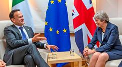 Breaking up is hard to do: Leo Varadkar and Prime Minister Theresa May during a bilateral meeting in Brussels