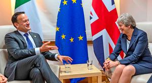 Leo Varadkar and Prime Minister Theresa May during a bilateral meeting in Brussels