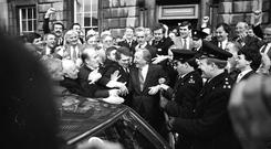 From gun-running allegations to Taoiseach: Charlie Haughey with supporters after his election in 1987
