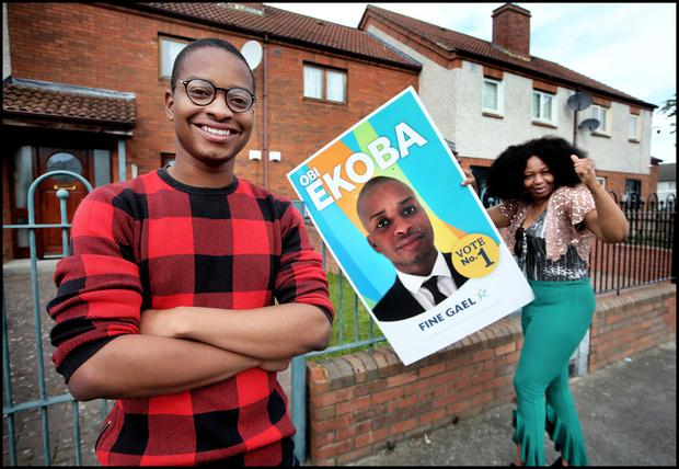 Fine Gael Election Candidate Obi Ekoba at his home in Drimnagh with his No.1 suppoter Mum Amaka Ikoba.