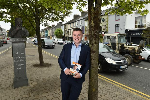 Independent candidate Jackie Healy-Rae Junior pictured canvassing in Castleisland. Photo: Don MacMonagle