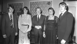 Haughey family at dinner. From left: Kieran, Eimear, Charlie, Maureen and Connor. Photo: Tom Burke
