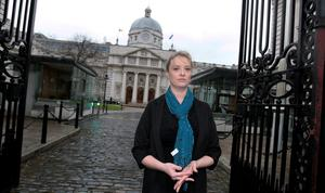 Mairia Cahill outside Government Buildings. Photo: Tom Burke