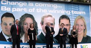 Varadkar, Olwyn Enright, Enda Kenny, George Lee and Lucinda Creighton during an FG campaign launch in 2009