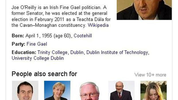 A screen grab showing the result of a Google search for Joe O'Reilly.