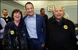 Varadkar with his parents last February during his election count. Photo: Steve Humphreys