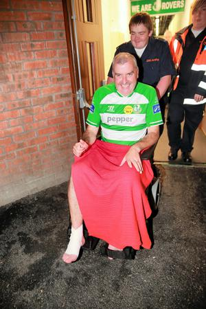 Dublin South West by-election candidate Ronan McMahon after breaking his leg at a mini soccer tournament
