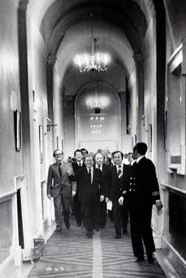 Charlie Haughey with Fianna Fail deputies and PJ Mara (left) make their to the press conference in Government Buildings following his election as Fianna Fail leader in 1979