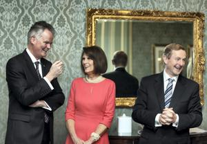 Mark Redmond CEO American Chamber of Commerce with Dena O'Malley wife of US Ambassador Kevin O'Malley and An Taoiseach Enda Kenny.