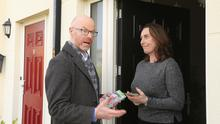 On the campaign trail: Stephen Donnelly talks to Marguerite Deegan while canvassing for Fianna Fáil in Greystone, Co Wicklow during the general election this year. Picture by Gerry Mooney