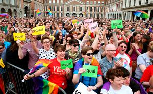 People gather at the Central Count Centre in Dublin Castle, Dublin, after Zappone proposed live on TV as votes are continued to be counted in the referendum on same-sex marriage.  PRESS ASSOCIATION Photo. Picture date: Saturday May 23, 2015. Ireland is set to enshrine the right to gay marriage in a historic world first. Key campaign groups fighting the rights reform conceded defeat, with results from around the country indicating a two to one majority of voters backing the constitutional change. See PA story IRISH GayMarriage. Photo credit should read: Brian Lawless/PA Wire