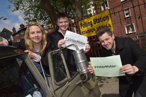 Laura Harmon, president of the Union of Students in Ireland, and Domhnall McGlacken-Byrne and Glen Fitzpatrick of USI launch 'VoterMotor', a campaign to get the student vote out for Friday's referendum
