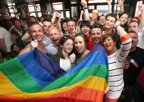 Celebrations inside Pantibar after a Yes Vote in Dublin