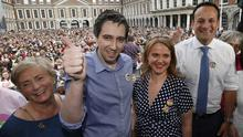 From l to right are Francis Fitzgerald, Simon Harris, minister for health, Senator, Catherine Noone and Taoiseach, Leo Varadkar celebrate the repeal of the 8th amendment at Dublin castle. Pic credit; Damien Eagers / INM