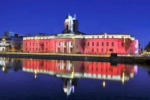 Cork city hall pictured during Rebel Week, 2013