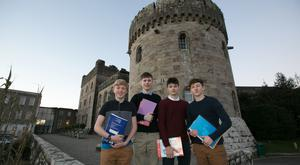 Work hard, play hard: Adam Byrne, Shane Lait, Patrick McCrann and Brian Leonard at Glenstal Abbey School. Photo: Brian Gavin/Press 22