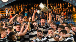 High achievers: Belvedere College students celebrate with the Leinster Schools Senior Cup following their victory over Cistercian College Roscrea last March. Photo: Stephen McCarthy