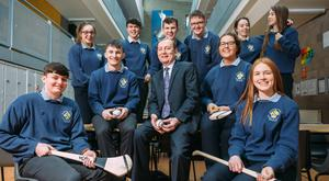 Principal Paddy Scales with Leaving Cert students at Colaiste ns Sionna, Banagher College, Co Offaly. Photo: Eamon Ward