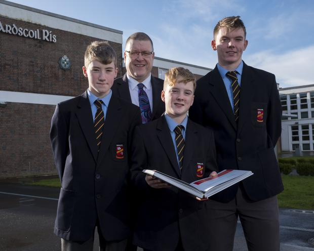 Principal Tom Prendergast with students Callum Dunworth, James Linnanne and Tom McKeown. Photo: Don Moloney