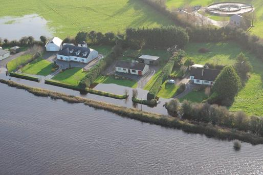 An aerial view of flooding in the Shannon basin between Banagher, Co Offaly and Parteen Co Clare