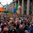 Crowds gather at the GPO in O'Connell Street, Dublin, during a demonstration against water charges organised by the Right2Water campaign