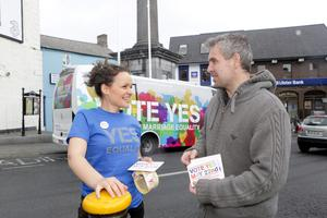 Equality call: Barbara Hughes from the Yes Campaign Bus that visited Ennis, Co Clare on Monday talks to Gerard Ward of Clarecastle. Photo: Brian Arthur/ Press 22