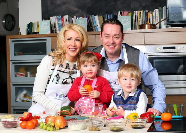 Chef Neven Maguire, wife Amelda and their now four-year-old twins Lucia and Connor Photo: Marc O'Sullivan.