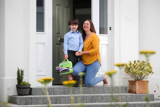 Writer Chrissie Russell and son Tom pictured at their Co Down home last summer. Photo by Kelvin Boyes / Press Eye