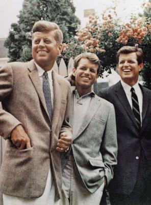 From left, John F Kennedy and his brothers Bobby and Ted