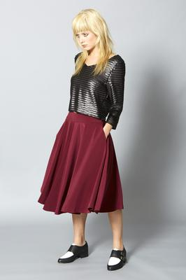 Left Top, €140; skirt, €140, both Lennon Courtney. Shoes, €135, Buffalo.