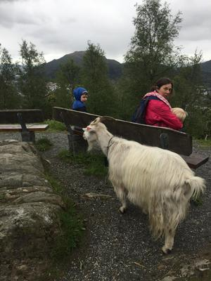Chrissie Russell breastfeeds on a mountaintop in Norway