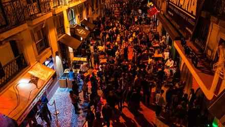 Revellers in the Cais do Sodre district of Lisbon. Picture by Jose Sarmento Matos