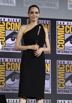 Taking the lead: Angelina Jolie at Comic-Con in San Diego on Saturday where it was announced they are to play lead superheroes in upcoming Marvel movies